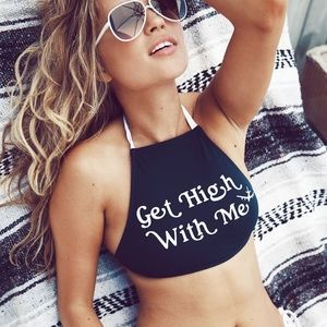 Wildfox Get High With Me Halter Bikini Top NWT